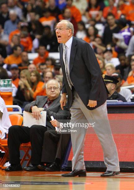 Head coach of the Syracuse Orange Jim Boeheim during play against the Fordham University Rams at the Carrier Dome on November 12 2011 in Syracuse New...