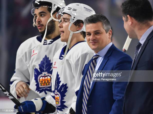 Head coach of the Toronto Marlies Sheldon Keefe looks on as he walks on the ice against the Laval Rocket during the AHL game at Place Bell on March...