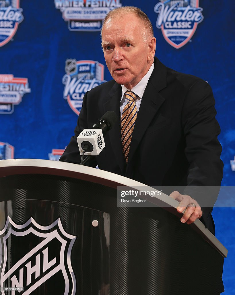 Head coach of the University of Michigan hockey team Red Berenson talks about the 2014 NHL Winter Classic during the Press Announcement on April 7, 2013 at Joe Louis Arena in Detroit, Michigan.