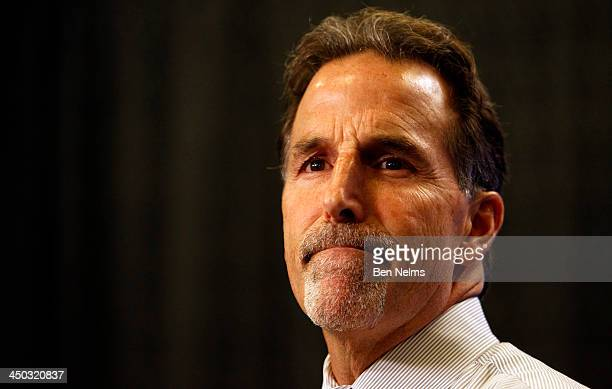 Head Coach of the Vancouver Canucks John Tortorella speaks to the media after his team lost to the Dallas Stars after their NHL game at Rogers Arena...