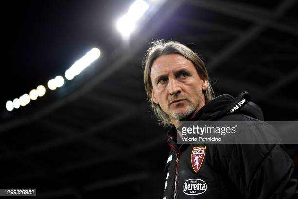 Head Coach of Torino Davide Nicola looks on prior to the Serie A match between Torino FC and ACF Fiorentina at Stadio Olimpico di Torino on January...