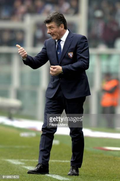 Head coach of Torino Walter Mazzarri during the serie A match between Torino FC and Juventus at Stadio Olimpico di Torino on February 18 2018 in...