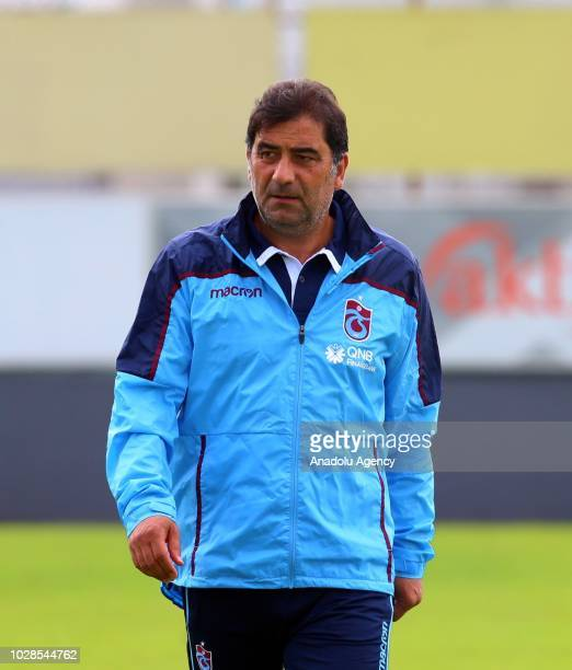 Head coach of Trabzonspor Unal Karaman follows his players during a training session held ahead of Turkish Super Lig week 5 match against Aytemiz...
