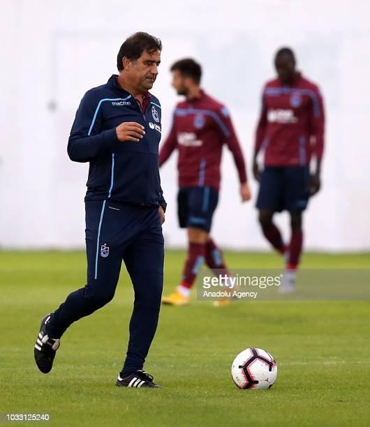 Head coach of Trabzonspor Unal Karaman leads a training session held ahead of Turkish Super Lig week 5 match against Aytemiz Alanyaspor at Mehmet Ali...
