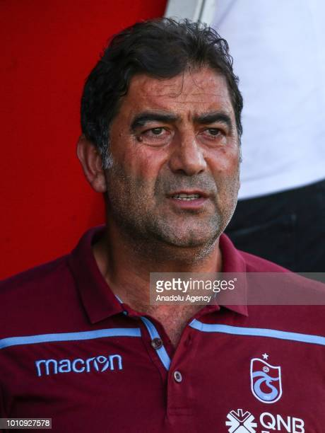 Head coach of Trabzonspor Unal Karaman looks on during a friendly match between Trabzonspor and Cagliari at Atatürk Olympic Stadium in Istanbul...