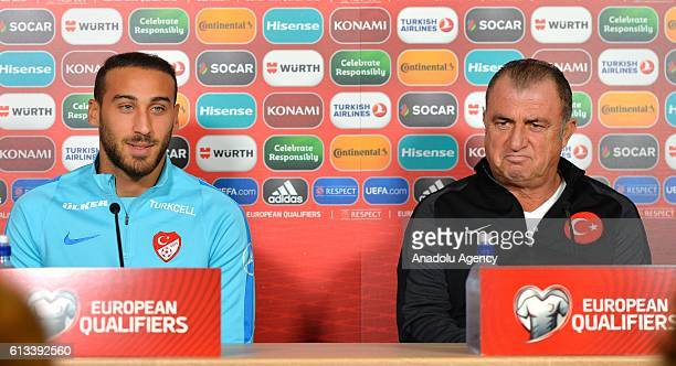 Head coach of Turkey Fatih Terim and Cenk Tosun of Turkey attend a press conference ahead of UEFA 2018 World Cup Qualifying Group I match between...