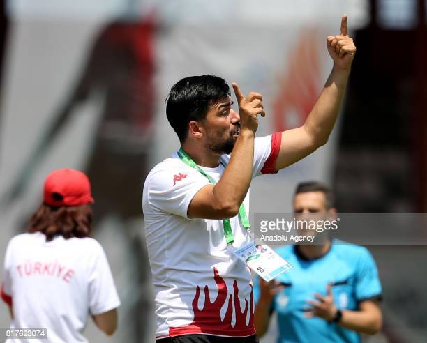 Head Coach of Turkey gestures during the 23rd Summer Deaflympics 2017 football match between Turkey and Brazil at Canik 19 Mayis Stadium in Samsun...