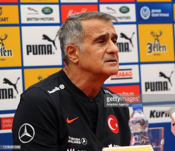 Head coach of Turkey Senol Gunes and player Ozan Kabak hold a press conference ahead of UEFA Nations League B Group 3, second match against Serbia...