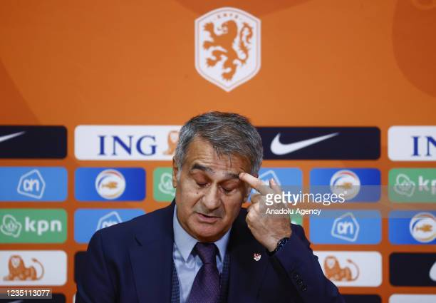 Head coach of Turkey Senol Gunes holds a press conference after the 2022 FIFA World Cup Qualifiers Group G soccer match between Netherlands and...