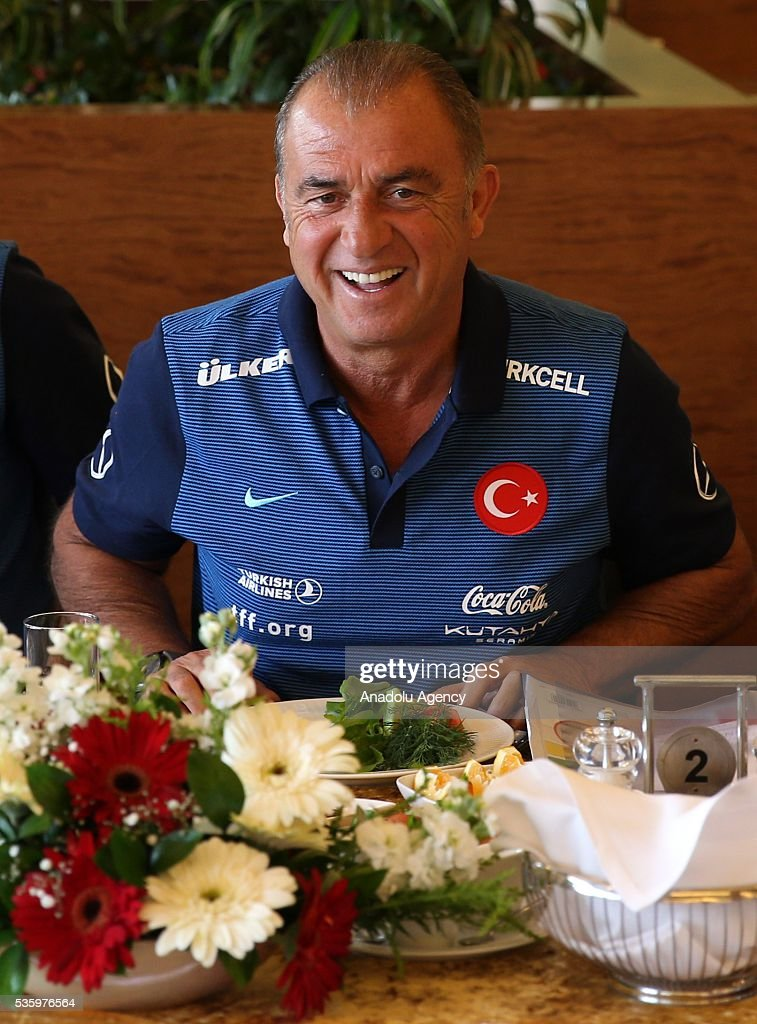 Head coach of Turkey's national football team, Fatih Terim makes statements to the media during a breakfast as Turkey's national football team continues training at Gloria Sports Arena ahead of UEFA Euro 2016, in Antalya, Turkey on May 31, 2016.