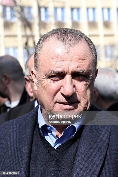 Head coach of Turkish national football team Fatih Terim attends the funeral ceremony of Turkish author Yasar Kemal who died at the age of 92 on 28th...