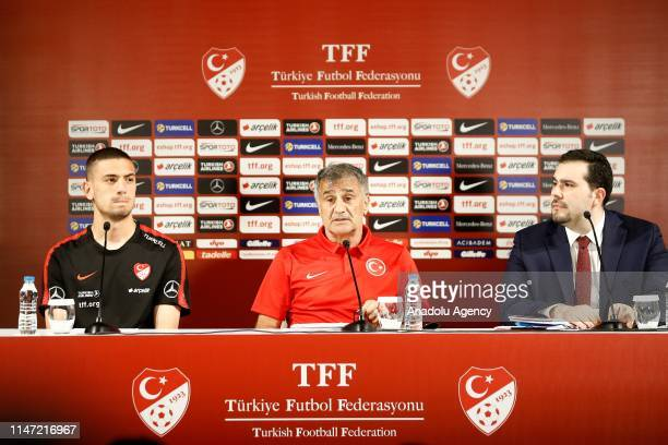 Head coach of Turkish National Football Team Senol Gunes and his player Merih Demiral attend a press conference ahead of an International match...