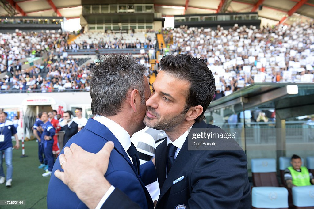 Head coach of UC Samdoria Sinisa Mihajlovic (L) and Head coach of Udinese Andrea Stramaccioni before the Serie A match between Udinese Calcio and UC Sampdoria at Stadio Friuli on May 10, 2015 in Udine, Italy.