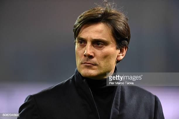 Head Coach of UC Sampdoria Vincenzo Montella looks during the Serie A match between UC Sampdoria and Torino FC at Stadio Luigi Ferraris on February 3...