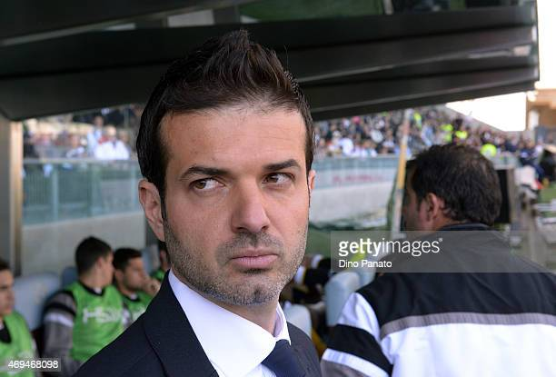 Head coach of Udinese Andrea Stramaccioni looks on during the Serie A match between Udinese Calcio and US Citta di Palermo at Stadio Friuli on April...
