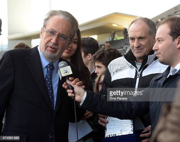 Head coach of Udinese Francesco Guidolin and Gianpaolo Pozzo, past president of Udinese before the Serie A match between Udinese Calcio and Atalanta...