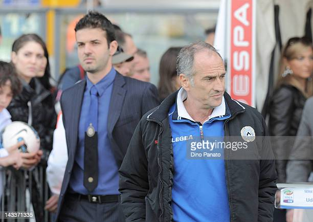 Head coach of Udinese Francesco Guidolin and Head coach of Internazionale Milano Andrea Stramaccioni before the Serie A match between Udinese Calcio...