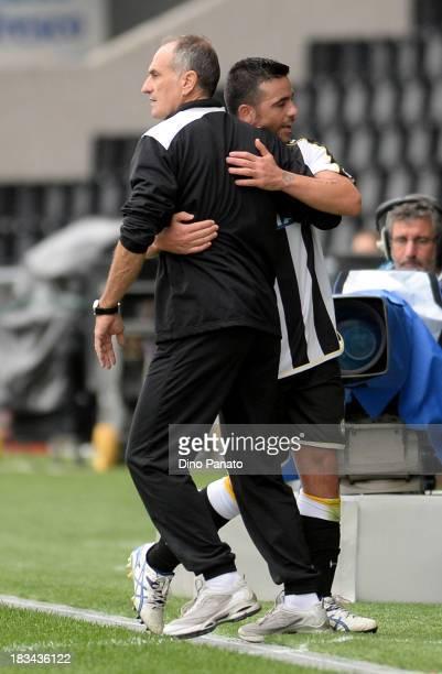 Head coach of Udinese Francesco Guidolin hugs Antonio Di Natale during the Serie A match between Udinese Calcio and Cagliari Calcio at Stadio Friuli...