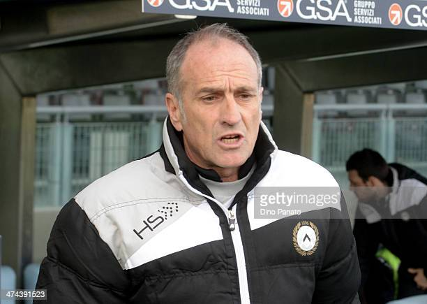 Head coach of Udinese Francesco Guidolin looks on during the Serie A match between Udinese Calcio and Atalanta BC at Stadio Friuli on February 23...