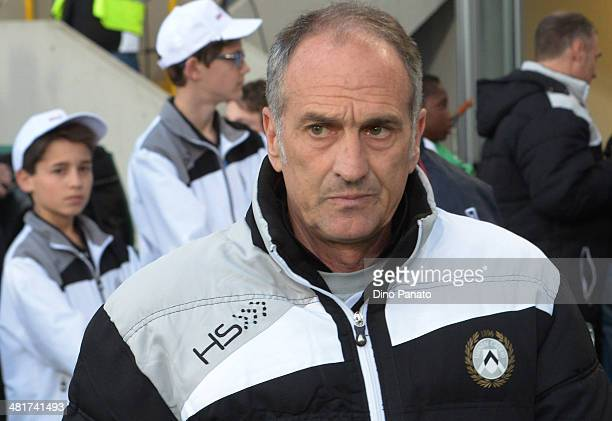 Head coach of Udinese Francesco Guidolin looks on during the Serie A match between Udinese Calcio and Calcio Catania at Stadio Friuli on March 31...