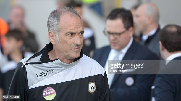 Head coach of Udinese Francesco Guidolin looks on during the Serie A match between Udinese Calcio and AS Livorno Calcio at Stadio Friuli on May 4...