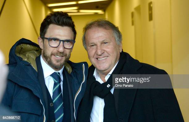 Head coach of US Sassuolo Eusebio Di Francesco and Zico before the Serie A match between Udinese Calcio and US Sassuolo at Stadio Friuli on February...