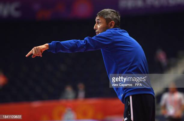 Head Coach of Uzbekistan, Bakhodir Akhmedov during the FIFA Futsal World Cup 2021 group B match between Egypt and Uzbekistan at Vilnius Arena on...