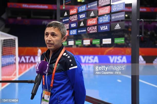Head Coach of Uzbekistan, Bakhodir Akhmedov talks to the media during the FIFA Futsal World Cup 2021 group B match between Egypt and Uzbekistan at...