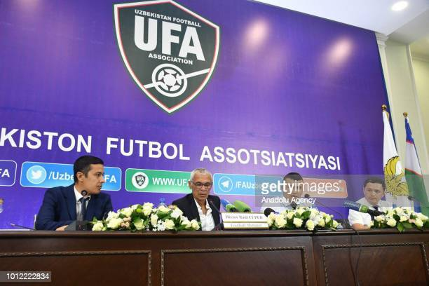 Head coach of Uzbekistan Hector Cuper holds a press conference after his signing ceremony for the Uzbek National Football Team in Tashkent Uzbekistan...