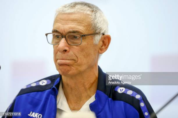 Head coach of Uzbekistan National Football Team Hector Cuper and Timurkhuja Abdukholikov attend a press conference ahead of International match...