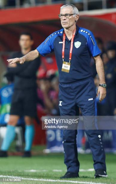 Head coach of Uzbekistan national football team Hector Cuper gives tactics during a friendly match between Turkey and Uzbekistan at Alanya Bahcesehir...