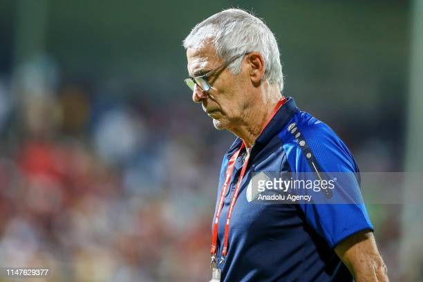 Head coach of Uzbekistan national football team Hector Cuper is seen after the first half of a friendly match between Turkey and Uzbekistan at Alanya...
