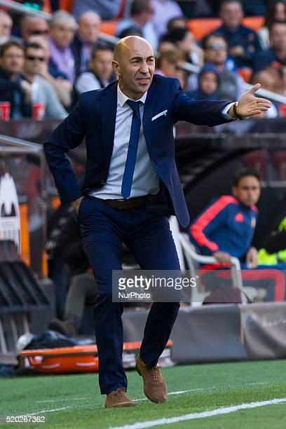 Head coach of Valencia CF Paco Ayestaran during La Liga match between Valencia CF and Sevilla CF at Mestalla Stadium in Valencia on April 10 2016