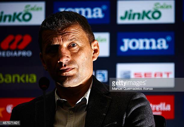 Head Coach of Valencia Miroslav Djukic looks on during the press conference of his dismissal at the club's office on December 16, 2013 in Valencia,...