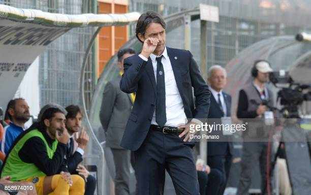 Head coach of Venezia Filippo Inzaghi looks on during the Serie B match between Venezia FC and FC Carpi at Stadio Pier Luigi Penzo on October 8 2017...