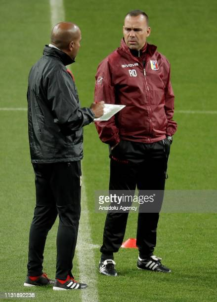Head coach of Venezuela National Football Team Rafael Dudamel leads a training session ahead of friendly match against Argentina National Football...