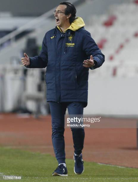 Head Coach of Villareal Unai Emery gestures during UEFA Europa League Group I match between Demir Grup Sivasspor and Villarreal at the 4 Eylul...