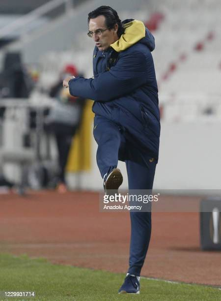Head Coach of Villareal Unai Emery reacts during UEFA Europa League Group I match between Demir Grup Sivasspor and Villarreal at the 4 Eylul Stadium...