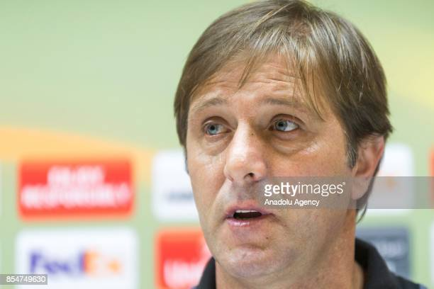 Head coach of Vitoria Guimaraes Pedro Martins and the team's goalkeeper Miguel Silva hold a press conference ahead of UEFA Europa League Group I...