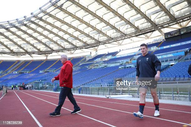 Head Coach of Wales Warren Gatland and captain Jonathan Davies arrive at the Captain's Run at Stadio Olimpico on February 08 2019 in Rome Italy
