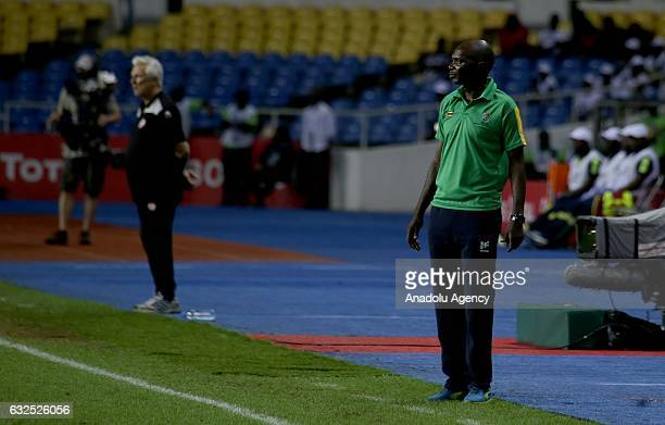 Head Coach of Zimbabwe Callisto Pasuwa is seen during the 2017 Africa Cup of Nations group B football match between Zimbabwe and Tunisia at the...