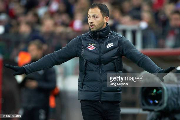 Head coach ofFC Spartak Moscow Domenico Tedesco reacts during the Russian Football League match between FC Spartak Moscow and FC Krasnodar at at...