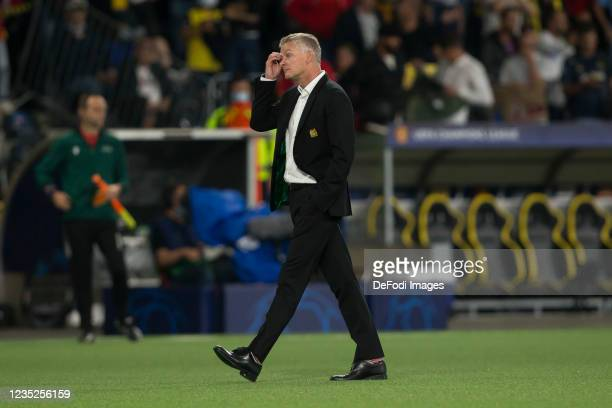 Head coach Ole Gunnar Solskjaer of Manchester United looks dejected during the UEFA Champions League group F match between BSC Young Boys and...