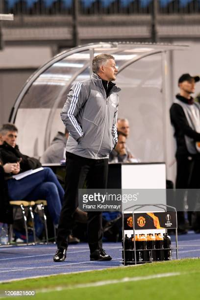 Head coach Ole Gunnar Solskjaer of Manchester United looks on during UEFA Europa League Round of 16 First Leg match between LASK and Manchester...