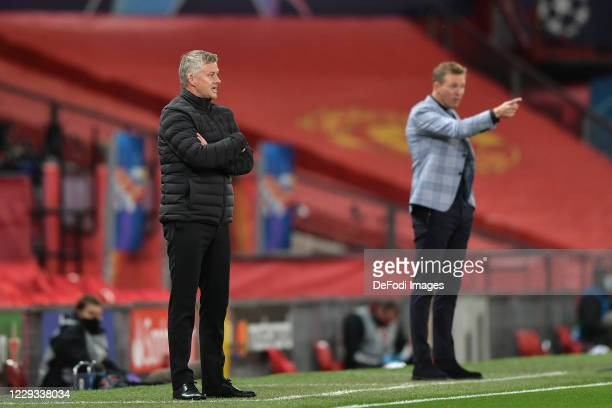 head coach Ole Gunnar Solskjær of Manchester United gestures during the UEFA Champions League Group H stage match between Manchester United and RB...