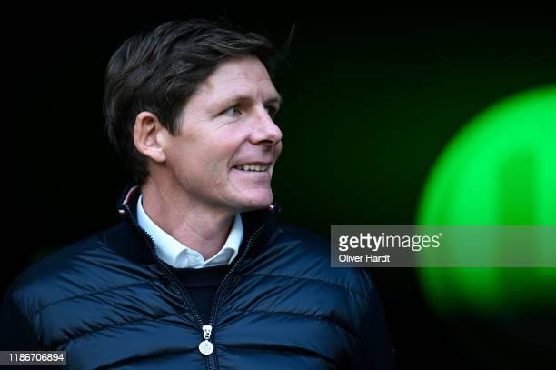 Head coach Oliver Glasner of VfL Wolfsburg looks on prior to the Bundesliga match between VfL Wolfsburg and Bayer 04 Leverkusen at Volkswagen Arena...