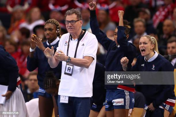 Head coach Oliver Krumbholz of France gesticulated during the IHF Women's Handball World Championship Semi Final match between Sweden and France at...