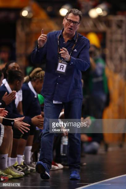 Head coach Oliver Krumbholz of France gesticulated during the IHF Women's Handball World Championship final match between France and Norway at...