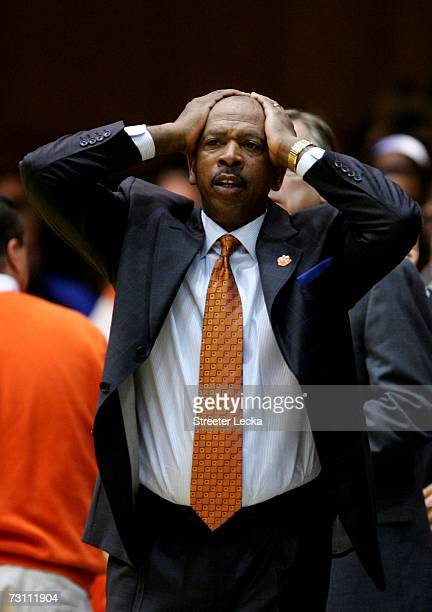 Head coach Oliver Purnell of the Clemson Tigers reacts to a call during action against the Duke Blue Devils at Cameron Indoor Stadium on January 25...
