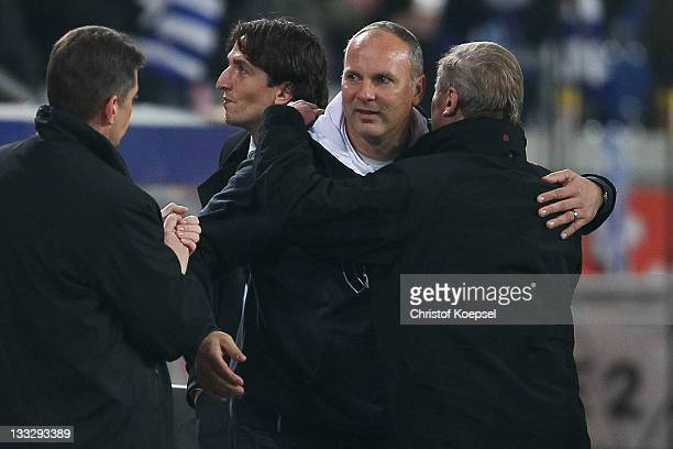 Head coach Oliver Reck of Duisburg celebrates the 30 victory after the Second Bundesliga match between MSV Duisburg and Eintracht Braunschweig at...